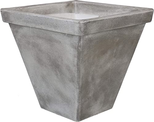 lowest Sunnydaze Hamilton high quality Outdoor/Indoor Planter Pot, Heavy-Duty Double-Walled Polyresin with UV-Resistant Antique Quarry Finish, popular Single, 16-Inch online