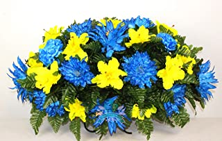Beautiful XL Artificial Fall Mixture Cemetery Flower Headstone Saddle Grave Decoration