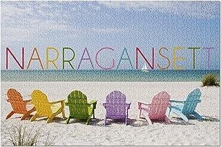 Lantern Press Narragansett, Rhode Island - Colorful Beach Chairs 74398 (1000 Piece Premium Jigsaw Puzzle for Adults and Fa...