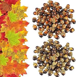 150Pcs Artificial Acorn Artificial Maple Leaves Decor Set,Autumn Table Decorations Set Plastic Acorns Fall Leaves Fall Decor for Crafts Home Autumn Favor,Thanksgiving Day Christmas Wedding Decor