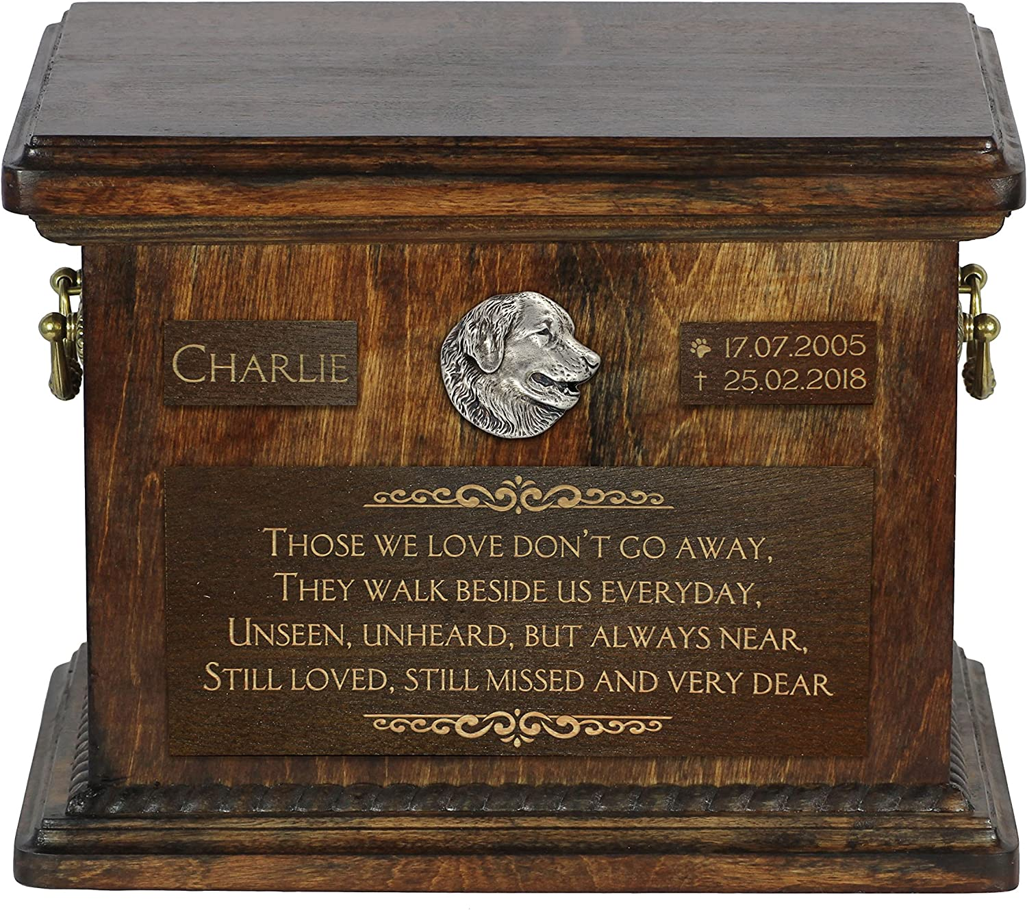 ArtDog Ltd. Leonberger, urn for dog's ashes with relief and sentence with your dog name and date