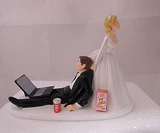 Wedding reception Computer Laptop Can of Cola popcorn nerd Geek Cake Topper