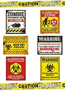 Halloween Zombie Party Decorations Set, 6 Zombie Posters, 20 Feet Zombies Creepy Caution Tape, 4E's Novelty