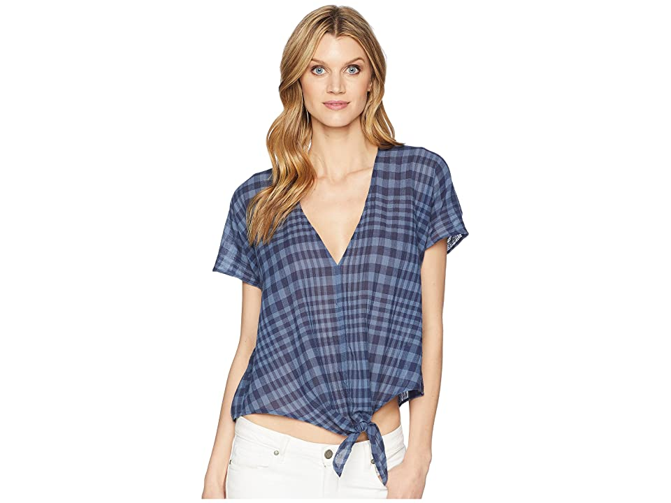 Lucky Brand Plaid Tie Top (Blue Multi) Women's Short Sleeve Pullover