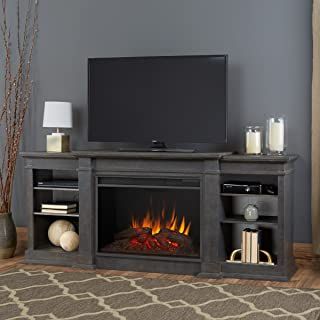 Real Flame 1290E-AGR 1290E Eliot Grand Entertainment Unit with Electric Fireplace, Large, Antique Gray