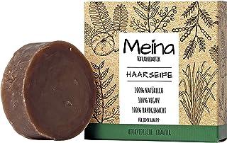 Meina - Haarseife Naturkosmetik - Bio Shampoo Bar mit ayurvedischen Kräutern 1 x 80 g palmölfrei, vegan, festes Shampoo für jeden Haartyp, Shampooseife für Männer und Frauen
