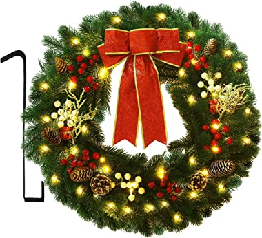 ATDAWN 24 Inch Christmas Wreath, Outdoor Lighted Christmas Wreath for Front Door, Xmas Wreath for Holiday Christmas Party Dec