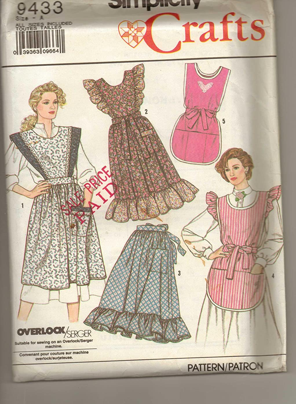 Simplicity 9433 Sewing Pattern Misses Aprons in Two Sizes Size One