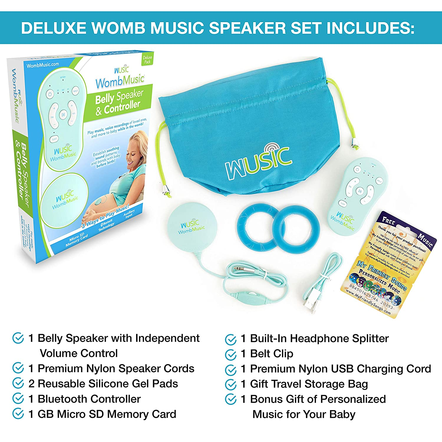 Bluetooth Baby Headphones for Mom's Belly-Bump by Wusic - Play Music, Sounds & Voices to Baby with Womb Music Pregnancy Belly Speaker with Pregnancy Gifts for First Time Moms