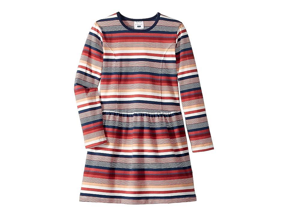 Toobydoo Long Sleeve Skater Dress (Toddler/Little Kids/Big Kids) (Red Stripe) Girl