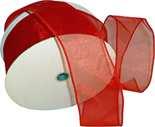 Reliant Ribbon Sheer Lovely Value Wired Edge Ribbon, 2-1/2 Inch X 50 Yards, Red