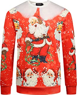SSLR Men's Xmas Santa Crew Neck Funny Ugly Christmas Sweatshirt