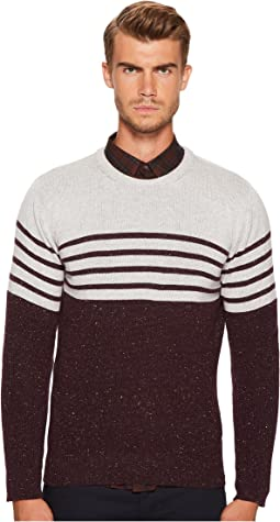 Stripe Donegal Cashmere Crew Neck