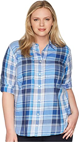 Plus Size Plaid Cotton Twill Shirt