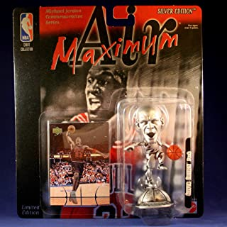 MICHAEL JORDAN / CHICAGO BULLS * OPEN MOUTH VARIATION * Limited Edition MAXIMUM AIR SILVER EDITION Commemorative Figure & Upper Deck NBA Collector Card
