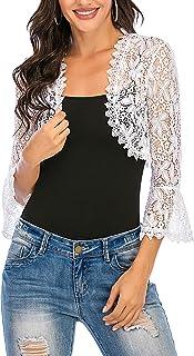 Enjoyoself Womens Shrugs Summer Floral Lace 3/4 Bell Sleeve Open Front Bolero Cardigan