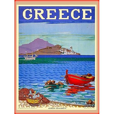Santorini Island Greece Aegean Greek European Travel Poster Art Advertisement