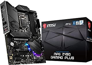 MSI MPG Z490 GAMING PLUS Gaming Motherboard (ATX, 10th Gen Intel Core, LGA 1200 Socket, DDR4, CF, Dual M.2 Slots, USB 3.2 ...