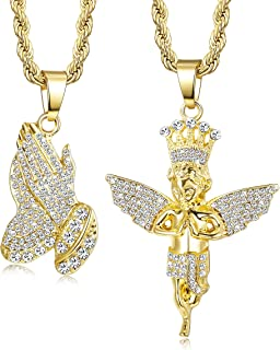 2Pcs Gold Plated Necklaces for Women Men Prayer Hand Angel Pendant Necklace Ice Out Hip Hop Rope Chain 24