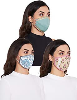 Pinkshink 100% Cotton Double Layer Washable Breathable Assorted Solid And Printed Fashion Masks - Pack Of 3