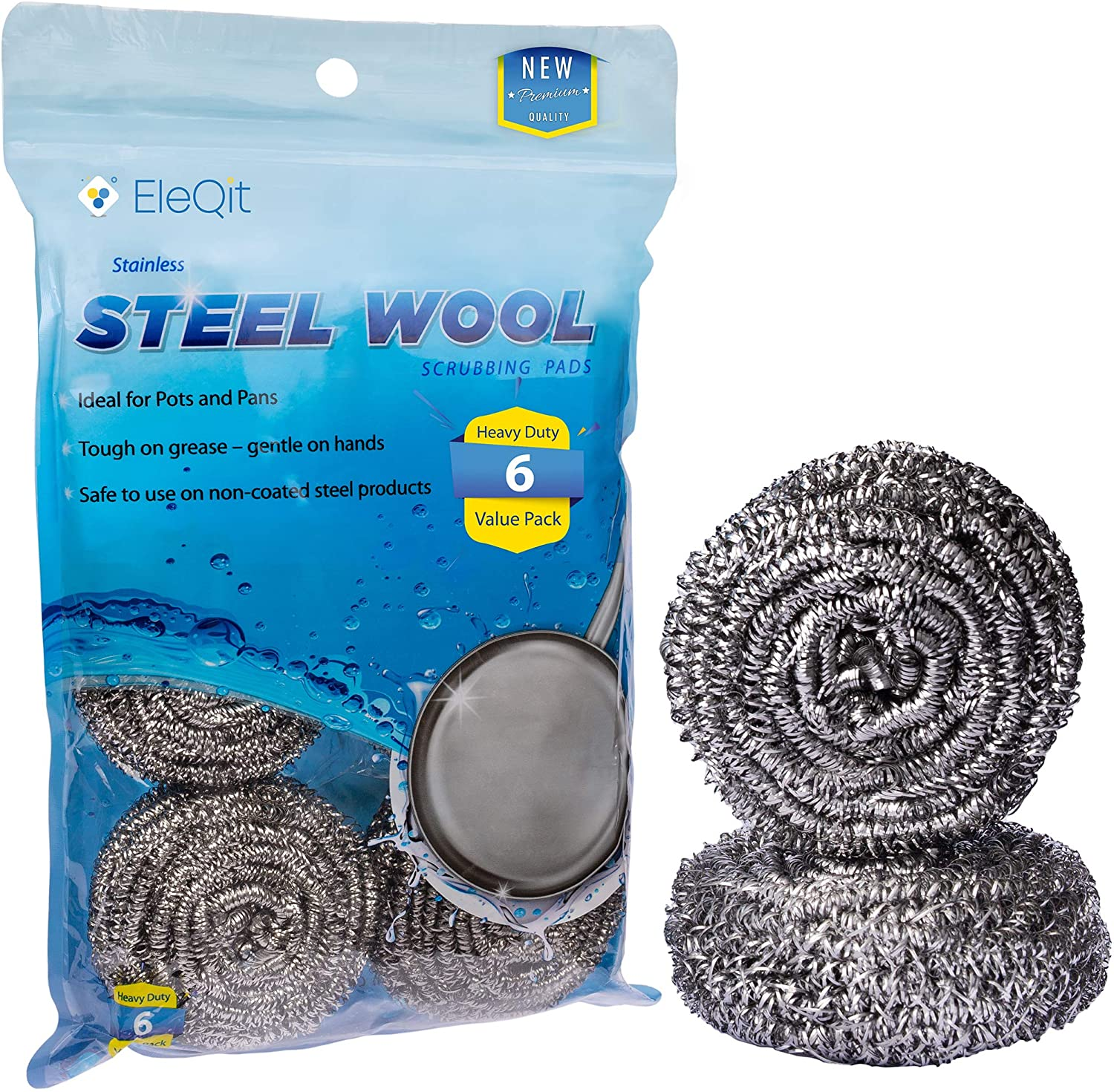 6 Pack Stainless Steel Wool Scrubber Sponge for Removing Tough Dirt, Grease, Oil or Stains from Dishes, Pots, Stovetops, Drip Pan, Cookware, Kitchenware : Health & Household