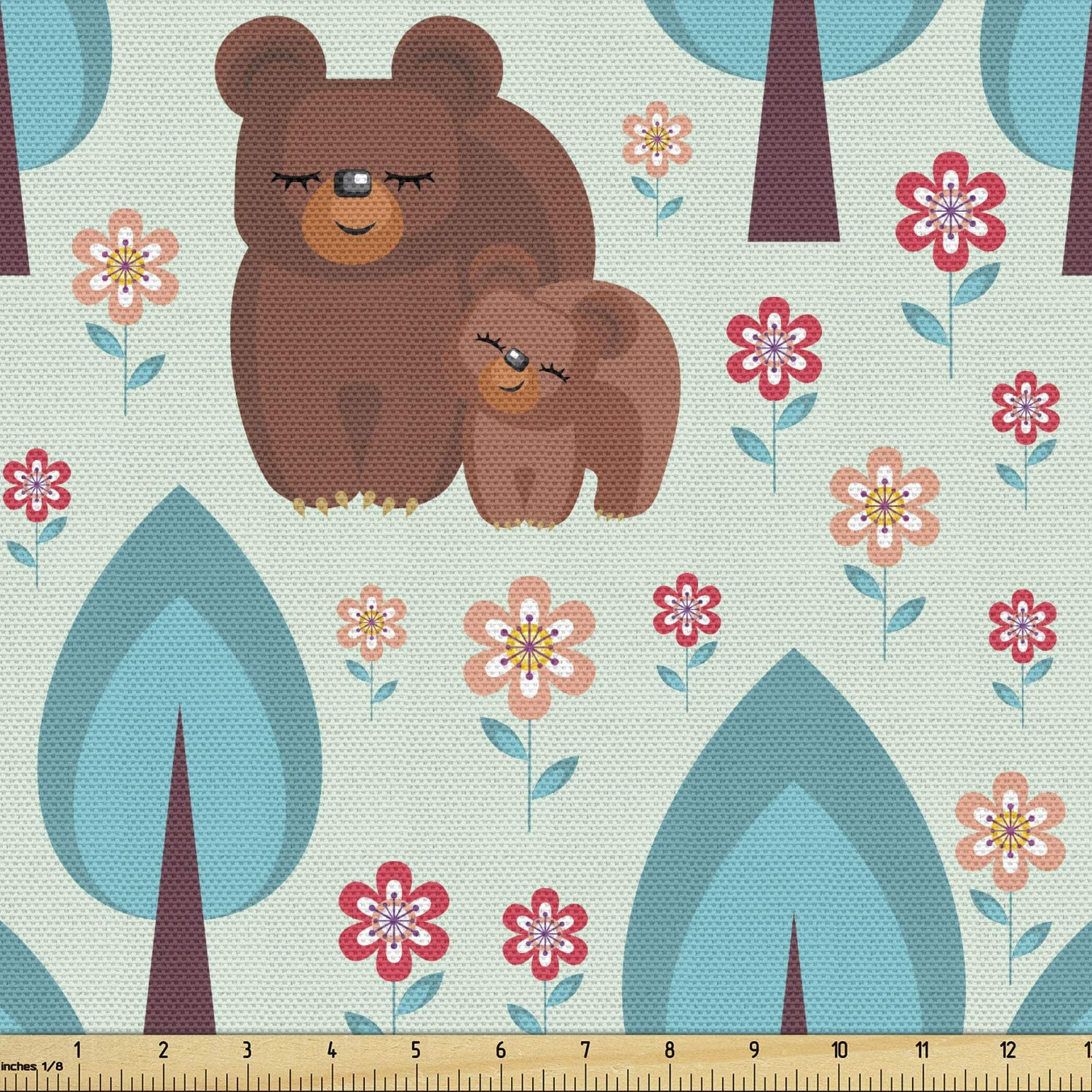 Lunarable Bear overseas Fabric by The Yard Mummy Ranking TOP1 Baby in and Forest a wi