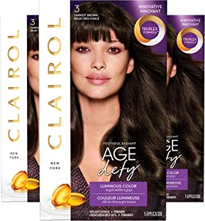 Clairol Age Defy Permanent Hair Color, 3 Darkest Brown, 3 Count