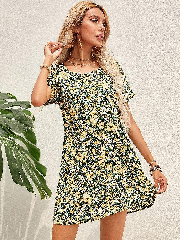 Milumia Women's Ruffle Mini Dress Short Sleeves Floral Round Neck Loose Dress