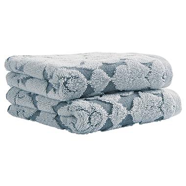Amazon Brand – Stone & Beam Flora Jacquard Cotton Hand Towel Set, Set of 2, Regatta Blue