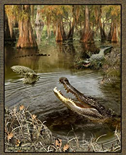REAL TREE COTTON ALLIGATOR PANEL BY SYKEL-REAL TREE ALLIGATOR PANEL-SOLD BY THE PANEL