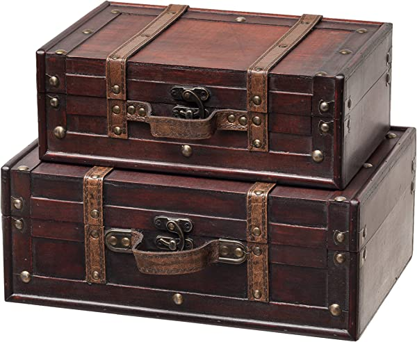 SLPR Decorative Suitcase With Straps Set Of 2 Brown Old Fashioned Antique Vintage Style Nesting Trunks For Shelf Home Decor Birthday Parties Wedding Decoration Displays Crafts Photoshoots