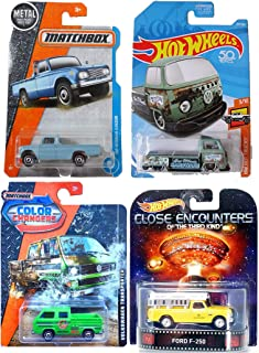 Hot Wheels Pickup Selection from Matchbox Close Encounters Entertainment Ford F-250, Volkswagen T2 Pickup, Color Changers Transporter, and Meta 1962 Nissan Junior Baby Blue 4-Car Bundle