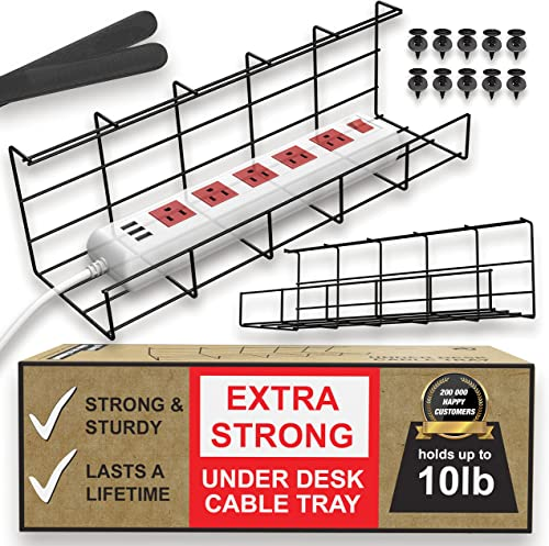 Under Desk Cable Management Tray - Under Desk Cable Organizer for Wire Management. Super Sturdy Desk Cable Tray. Perf...
