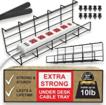 Under Desk Cable Management Tray - Under Desk Cable Organizer for Wire Management. Super Sturdy Desk Cable Tray. Perfect S...