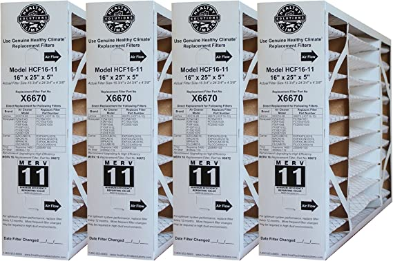 16 H x 25 L x 5 W Single Pack Lennox X6670 MERV 11 Box Replacement Filter Also for Honeywell 3-Pack