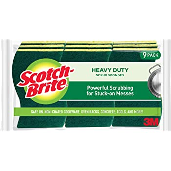 Scotch-Brite Heavy Duty Scrub Sponges, 9 Scrub Sponges, Stands Up to Stuck-on Grime