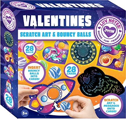 JOYIN 28 Packs Cards for Kids with Scratch Magic Cards and Marble Bouncing Balls Valentine Classroom Exchange Party Favor Toy