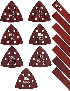 KSP-Tec │Deltaschuurmachine schuurpapier driehoekslijpers │elk 15 x korrel 40/60/80/120/180/240/400 │Delta schuurdriehoek...