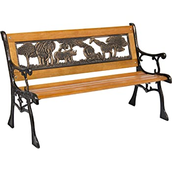 Best Choice Products Kids Mini Sized Outdoor Hardwood Patio Park Bench Decoration Accent w/Aluminum Frame and Safari Animal Accents, Brown