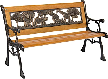 Best Choice Products Kids Mini Sized Outdoor Hardwood Patio Park Bench Decoration Accent w/Aluminum Frame and Safari Animal A