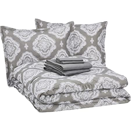 Amazon Basics 8-Piece Ultra-Soft Microfiber Bed-In-A-Bag Comforter Bedding Set - King, Grey Medallion