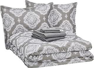 AmazonBasics 8-Piece Comforter Bedding Set, Full / Queen, Grey Medallion, Microfiber, Ultra-Soft