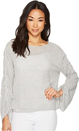 Drawstring Bell Sleeve Pointelle Sweater