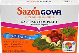 Goya Foods Sazon Natural & Complete No Salt, 3.52 Ounce (Pack of 18)