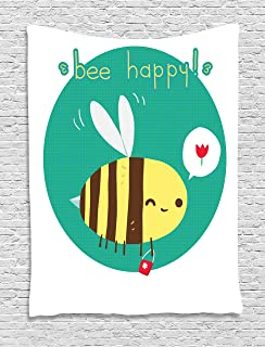 Queen Bee Tapestry, Winking Bumblebee Cartoon Doodle with Bee Happy Quote Circle Abstract Background, Wall Hanging for Bed...