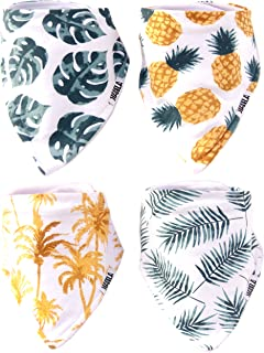 Stadela Baby Adjustable Bandana Drool Bibs for Drooling and Teething Nursery Burp Cloths 4 Pack Unisex Baby Shower Gift Set for Girl and Boy – Palm Tropical Leaf Hawaii Surfing Pineapple Beach Summer