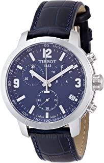 Blue Dial SS Leather Chronograph Quartz Men's Watch T0554171604700