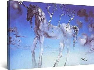 STARTONIGHT Canvas Wall Art - Salvador Dali Unicorn, Reproduction Framed 32 x 48 Inches