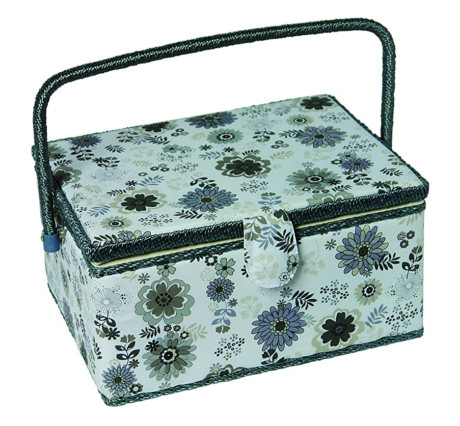 Kleiber Large Rectangular Sewing Basket-Floral Print (Grey/Charcoal) with Whicker Handle