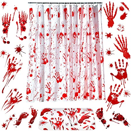 6 Pieces Halloween Bloody Handprint Footprint Decorations Set Include Bloody Shower Curtain Bloody Handprint Door Mat and Halloween Handprints Footprints Window Clings for Halloween Bathroom Decor